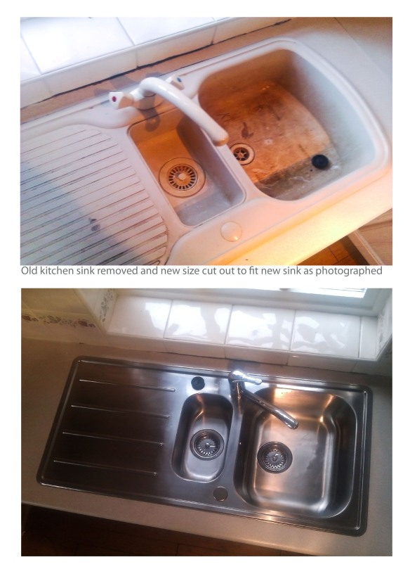 Kitchen sink replacing before & after